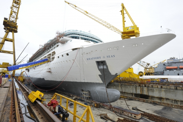 March 2011 - Royal Caribbean International's Rhapsody of the Seas undergoes a month-long, $54 million drydock where she will undergo a major revitalization and emerge with an array of new amenities at Singapore's Sembawang Shipyard (a subsidiary of Sembcorp Marine Ltd.).