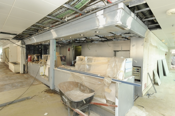 March 2012 - Royal Caribbean International's Rhapsody of the Seas undergoes a five-week revitalization. The ship's Solarium is receiving the Park Cafe, a casual dining venue.