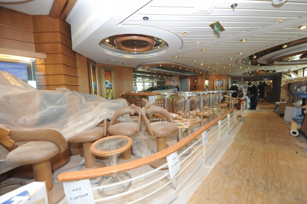 March 2012 - The iconic Schooner Bar is also receveing a refresh while Rhapsody of the Seas is in its five-week long dry dock.
