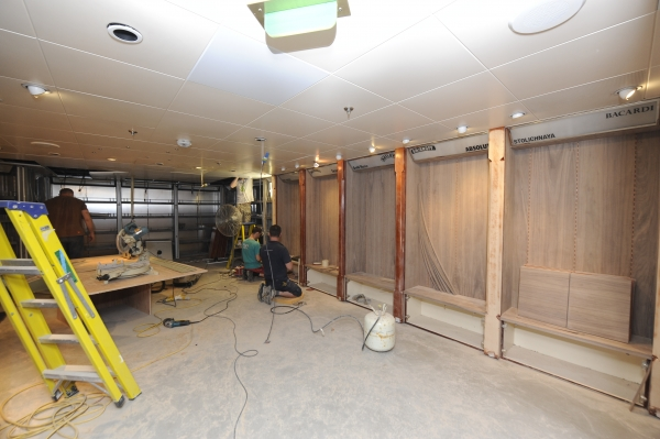 March 2012 - Workers prep the space onboard Rhapsody of the Seas for its transformation into Giovanni's Table, a family friendly Italian eatery