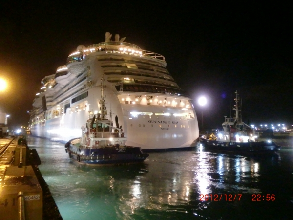 December 2012 - Serenade of the Seas leaves the Navantia Ship Yard in Cadiz, Spain after her three week long dry dock. The ship received a host of new dining venues, entertainment and technological upgrades.