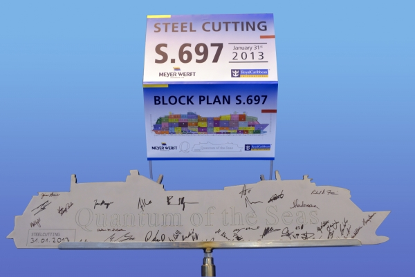 February 5, 2013 - Royal Caribbean International took a major step this week in the development of the cruise line's next generation of cruise ships when the first piece of steel was cut for the first of two Project Sunshine ships. The steel cutting took place at the Meyer Werft shipyard in Papenburg, Germany, where the two ships will be built.