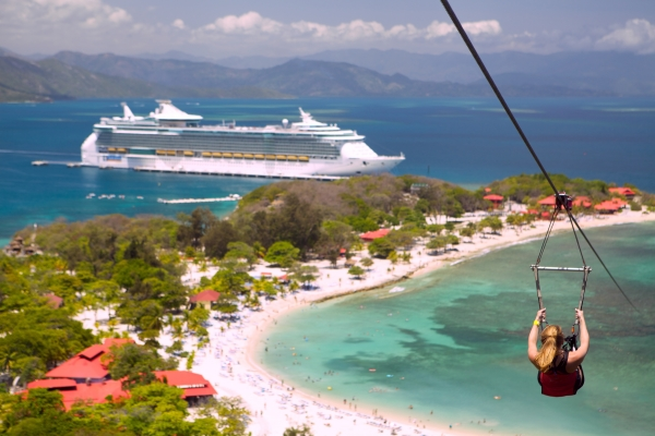 Royal Caribbean's private destination, Labadee, offers a variety of activites. From soaking up the sun on the beach to jet sking to sipping down the world's largest zip line over water.