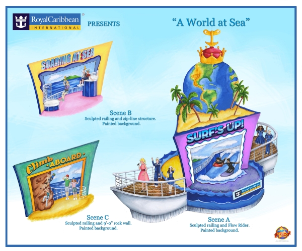 "Royal Caribbean International and Macy's today revealed the first look at the cruise line's new float, which will set sail down the streets of New York as part of the 87th Annual Macy's Thanksgiving Day Parade® lineup. Dubbed ""A World at Sea,"" the float was designed by the creative artists of the Macy's Parade Studio and will bring the cruise vacation experience to midtown Manhattan and beyond via three distinct postcard scenes which take place onboard a Royal Caribbean ship."