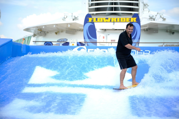 Captain of Voyager of the Seas, Charles Teige on FlowRider