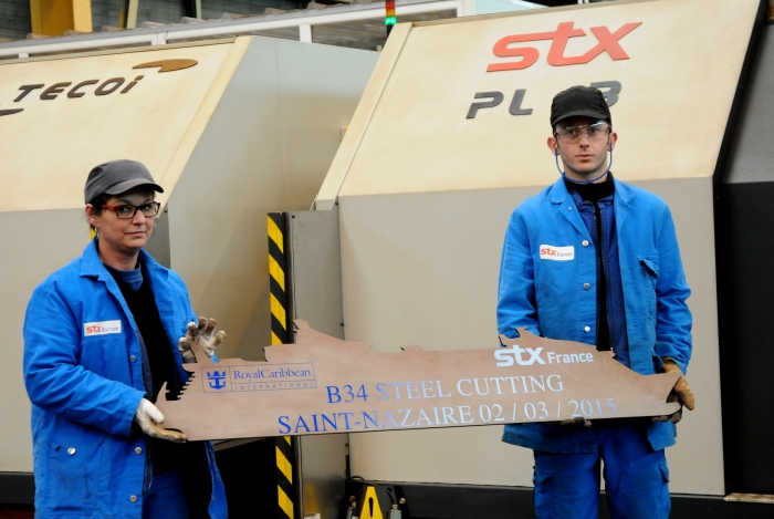 February 2015: Today marked the steel cutting for a fourth Oasis ship, scheduled to be delivered in 2018. The steel cutting, marking the official start of construction, took place at the STX France shipyard in Saint-Nazaire, France, where the third Oasis-class ship also is being built.