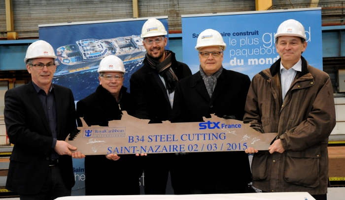 February 2015: Today marked the steel cutting for a fourth Oasis ship, scheduled to be delivered in 2018. The steel cutting, marking the official start of construction, took place at the STX France shipyard in Saint-Nazaire, France, where the third Oasis-class ship also is being built. Pictured here from left to right are Jean-Yves Jaouen, SVP, Operations, STX France; Jean-Yves Pean, Senior Project Manager, STX France; Pettri Keso, Project Manager, Royal Caribbean International; Harri Kulovaara, Executive Vice President, Newbuild, Royal Caribbean Cruises Ltd. and Laurent Castaing, chief executive officer, STX France.
