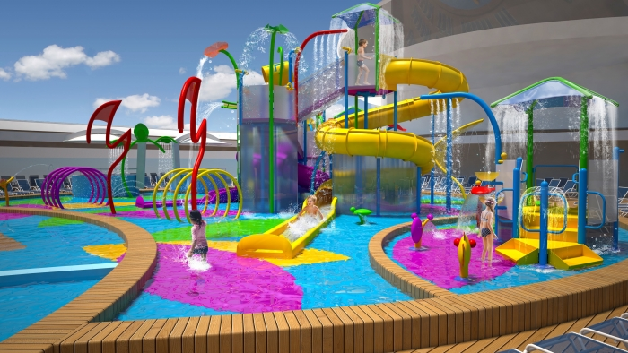 October 9, 2015 - Onboard Liberty of the Seas, kids will have an adult-free zone with the introduction of Splashaway Bay, an aqua park featuring an interactive kid's play area with water cannons, geysers and much more.