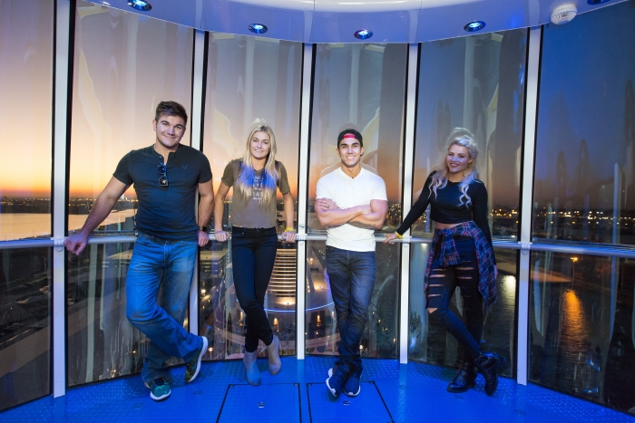 """Dancing with the Stars"" couples Carlos PenaVega & Witney Carson and Alek Skarlatos & Lindsay Arnold set sail on Royal Caribbean's newest smartship, Anthem of the Seas. The celebrities were spotted taking a ride in the North Star, skydiving at RipCord by iFly, riding bumper cars in SeaPlex and catching a wave on the FlowRider surf simulator. The couples were onboard to learn a dance from ""We Will Rock You,"" for the Nov. 9 episode of DWTS, airing 8/7 Central on ABC."