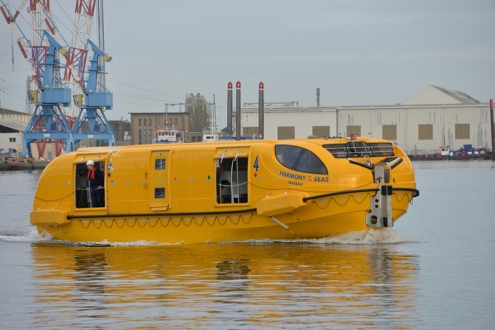 November 2015 - The lifeboats on Harmony of the Seas being tested in the waters near St. Nazaire, France.
