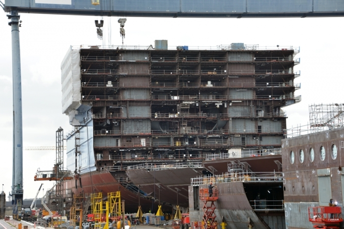 January 2016 - Ovation of the Seas under construction at the STX shipyard in France.