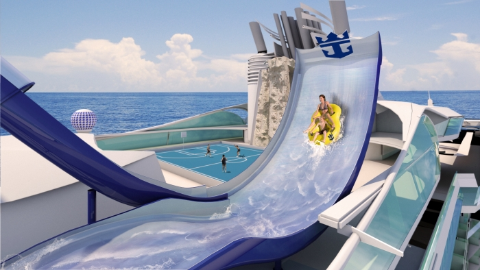 October 9, 2015 - Liberty of the Seas will receive a Texas-like makeover and bring even more adventure onboard with the addition of the a collection of waterslides called the Perfect Storm including the first-ever boomerang slide, Tidal Wave. The new hair-raising slide features a steep drop that propels riders up a near vertical wall for a moment of weightlessness and into free fall.