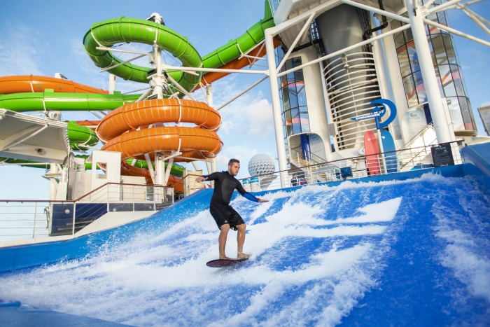 March 2016 - Guests onboard Liberty of the Seas can enjoy a collection of waterslides called the Perfect Storm including the first-ever boomerang slide, Tidal Wave. The new hair-raising slide features a steep drop that propels riders up a near vertical wall for a moment of weightlessness and into free fall.