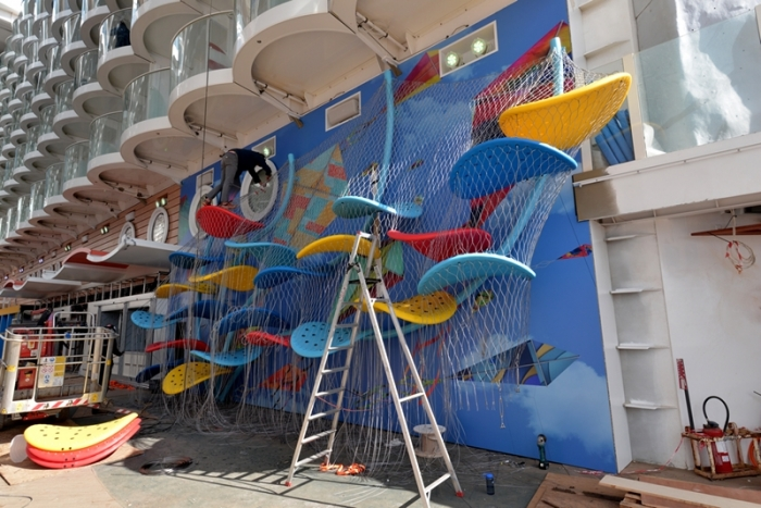 April 2016 - The Lucky Climber, a kids play area onboard Harmony of the Seas is receiving its final touches.
