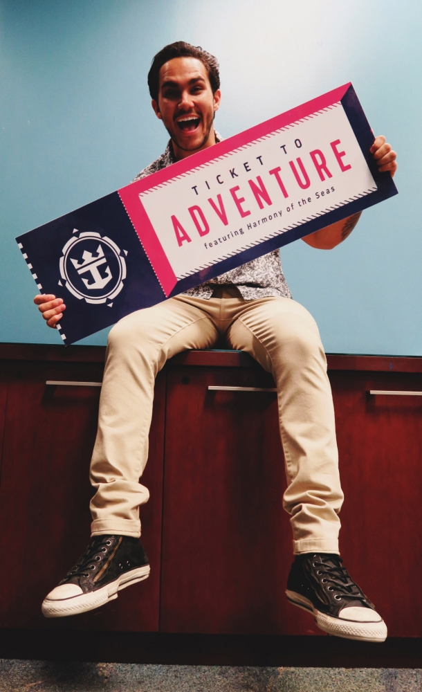"Actor and singer Carlos PenaVega gives fans the chance to win a ""Ticket to Adventure"" to join him onboard the world's largest and newest cruise ship, Royal Caribbean's Harmony of the Seas. PenaVega will host celebratory activities onboard as the cruise line debuts Grease as the new ship's headline show."