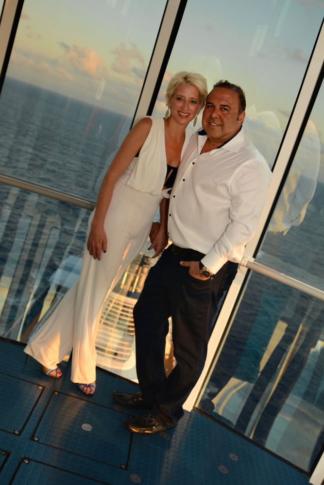 New York City's favorite housewife, Dorinda Medley, enjoys some R&R with longtime love John Mahdessian onboard Royal Caribbean's New-York-Harbor-based smartship Anthem of the Seas. The couple is enjoying a Caribbean getaway from the concrete jungle, and has been spotted taking in panoramic views from 300 feet above sea level in Anthem's iconic North Star; riding bumper cars in SeaPlex, the largest indoor active space at sea; lounging poolside in the ship's adults-only Solarium; and previewing the new Royal Suite Class, launching May 2016.