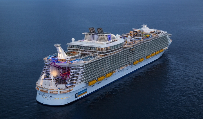 Aerial of the world's largest cruise ship, Harmony of the Seas.