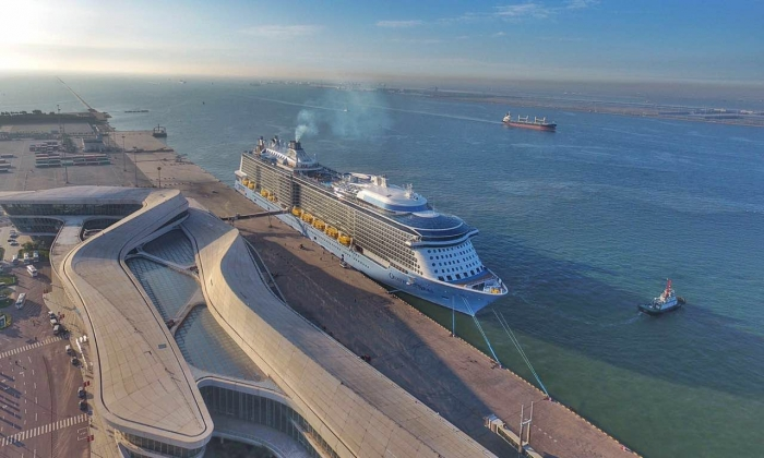 Ovation of the Seas' first call to her new homeport in Tianjin, China.