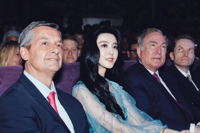 June 24, 2016 - Michael Bayley, President and CEO, Royal Caribbean International (left); Fan BingBing, Godmother for Ovation of the Seas (center), and Richard Fain, Chairman and CEO, Royal Caribbean Cruises Ltd. (right) attend the official naming of Ovation of the Seas.