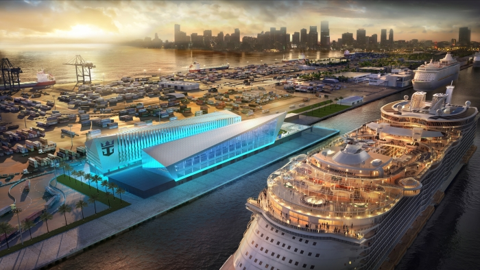 New, iconic cruise terminal - Royal Caribbean Cruises Ltd.'s (RCL) new, iconic terminal at PortMiami will be home to an Oasis class ship. The iconic building is slated for late 2018.