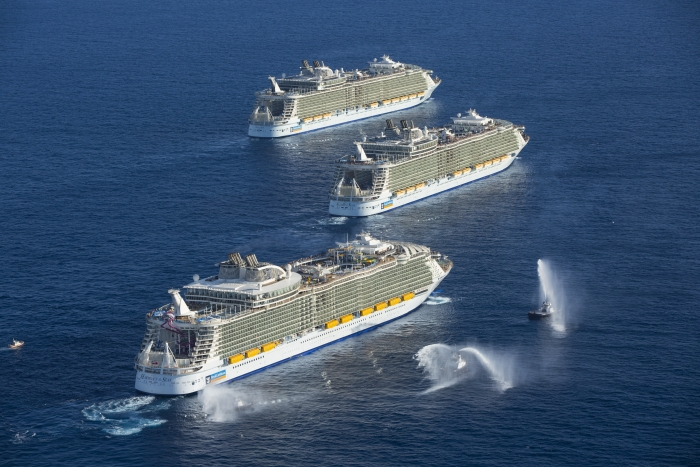 Royal Caribbean International's Oasis-class ships, Oasis of the Seas, Allure of the Seas and the new Harmony of the Seas, struck a chord today, greeting each other at sea for the first and possibly only time. In a meeting of unprecedented proportions, the three record-breaking sisters came together to celebrate the U.S. arrival of Harmony of the Seas on the eve of the ship's debut in her new permanent homeport of Port Everglades in Fort Lauderdale, Fla.