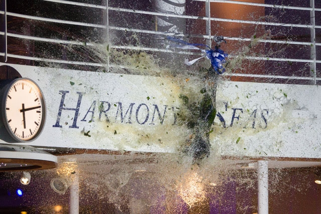 The bottle breaks at the naming ceremony of Royal Caribbean International's newest ship Harmony of the Seas.
