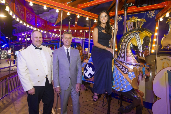 Captain Gus Andersson, Michael Bayley, President and CEO of Royal Caribbean International and Brittany Affolter after the naming ceremony on Royal Caribbean's newest ship Harmony of the Seas.