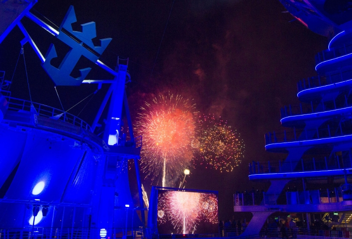 Fireworks at the naming ceremony of Royal Caribbean International's newest ship Harmony of the Seas.