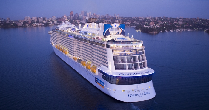 Ovation of the Seas arriving into Sydney to begin its first summer season of Australia and New Zealand itineraries.