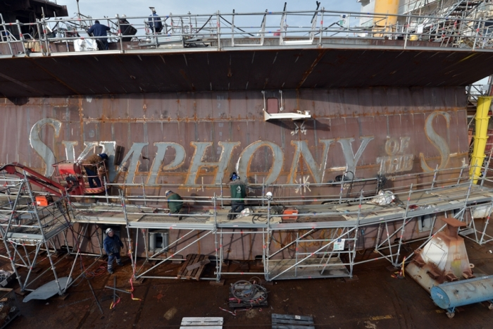 March 2017 - Symphony of the Seas, Royal Caribbean's newest Oasis-class ship, under construction at the STX shipyard in France. The ship is scheduled to be delivered in 2018Copyright: Bernard Biger – STX France