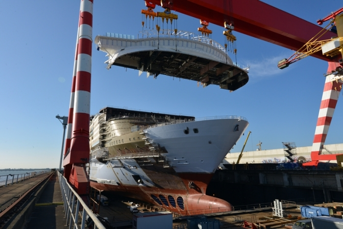 April 2017 - Symphony of the Seas, Royal Caribbean's newest Oasis-class ship, under construction at the STX shipyard in France. The ship is scheduled to be delivered in 2018.