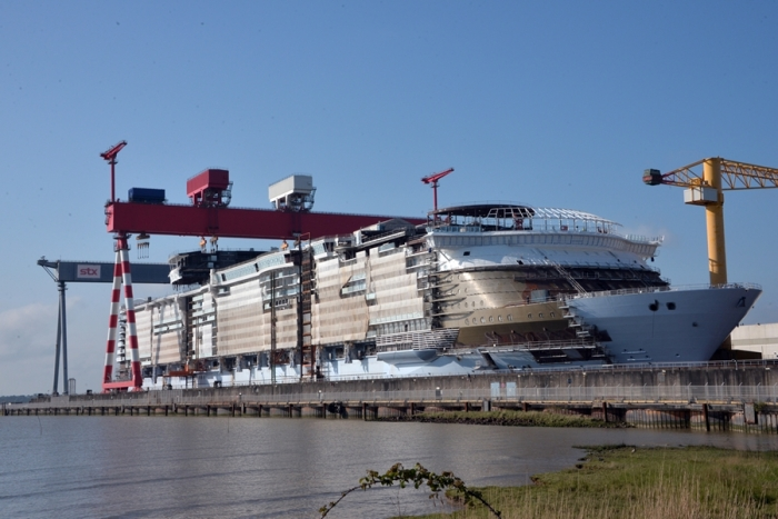 May 2017 -Symphony of the Seas, Royal Caribbean'snewestOasis-class ship, under construction at the STX shipyard in France. The ship is scheduled to be delivered in 2018.