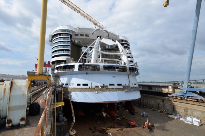 May 2017 - Symphony of the Seas, Royal Caribbean's newest Oasis-class ship, under construction at the STX shipyard in France. The ship is scheduled to be delivered in 2018.