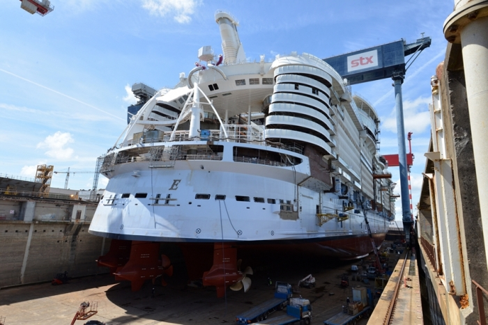 June 2017 - Symphony of the Seas, Royal Caribbean's newest Oasis-class ship, under construction at the STX shipyard in France. The ship is scheduled to be delivered in 2018.