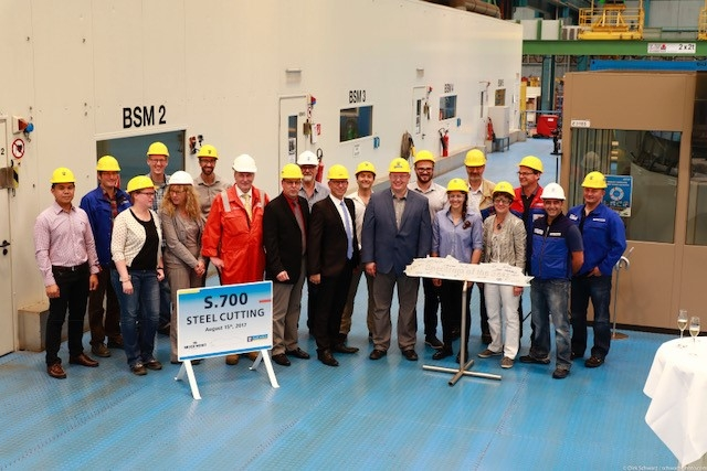 August 15, 2017 - Royal Caribbean International marked the official start of construction today by cutting the first piece of steel for its new Quantum Ultra ship. The next engineering marvel in the innovative cruise line's lineup will officially be named Spectrum of the Seas.