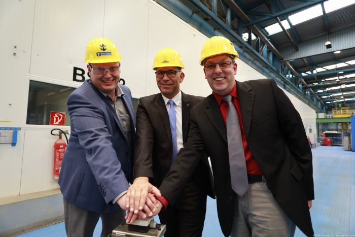August 15, 2017 - Royal Caribbean International marked the official start of construction by cutting the first piece of steel for its new Quantum Ultra ship. The next engineering marvel in the innovative cruise line's lineup will officially be named Spectrum of the Seas. Present at the event was (L to R): Sebastian Brunilla, Project Director Quantum Class, Royal Caribbean International; Stephan Schnees, Director Project Management, Meyer Werft; and Carsten Pengel, Project Manager, Meyer Werft.
