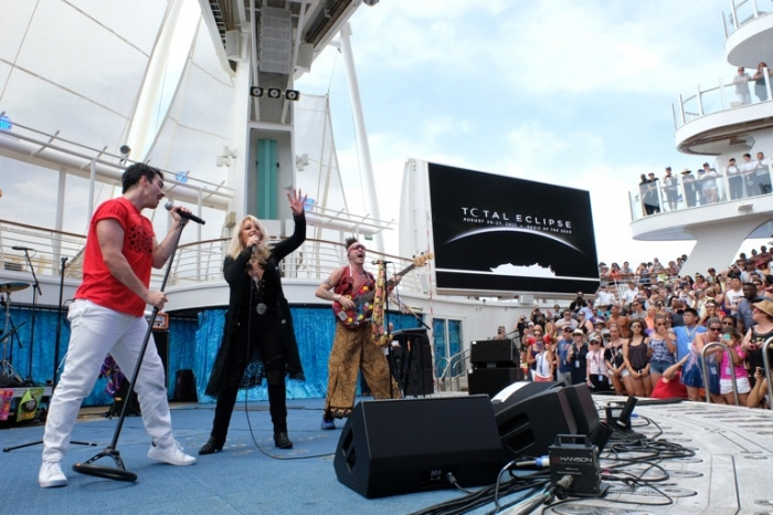 "During the Great American Eclipse on Mon., Aug. 21, Royal Caribbean's Oasis of the Seas was the only place on Earth to see legendary songstress Bonnie Tyler and multi-platinum-selling band DNCE perform a never-before-heard duet of the iconic '80s power ballad, ""Total Eclipse of the Heart."" The duet was part of an exclusive concert in the ship's signature outdoor AquaTheater, commemorating the cruise line's once-in-a-lifetime Total Eclipse Cruise."