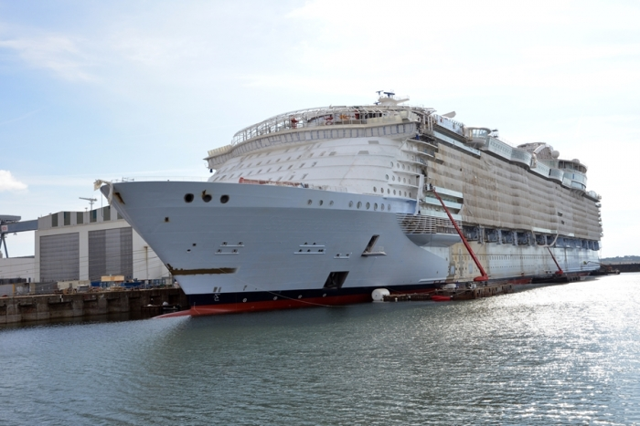 September 2017 - Symphony of the Seas, Royal Caribbean's newest Oasis-class ship, under construction at the STX shipyard in France. The ship is scheduled to be delivered in 2018.