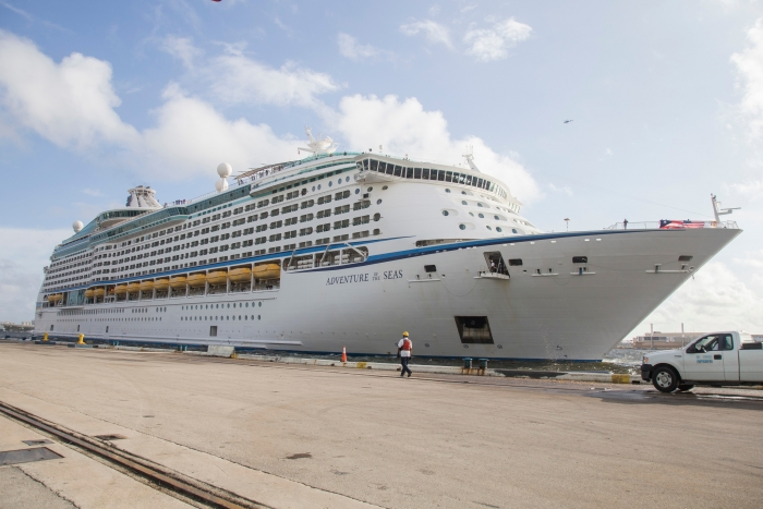 Royal Caribbean International's Adventure of the Seas docks at Port Everglades following a hurricane relief cruise to the Caribbean on Tuesday, Oct. 3, 2017 in Fort Lauderdale, Fla. The cruise line worked with local government officials in Puerto Rico, St. Croix, St. John and St. Thomas to identify approximately 3,400 individuals for evacuation. (Jesus Aranguren/AP Images for Royal Caribbean)