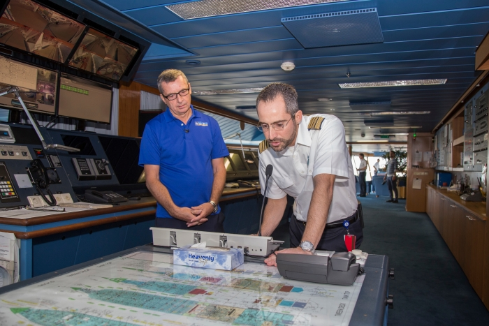 Royal Caribbean International President & CEO Michael Bayley and Adventure of the Seas Captain Tomas Busto greet Hurricane Maria evacuees on board the ship on Tuesday, Oct. 3, 2017 in Fort Lauderdale, Fla. The cruise line worked with local governments in Puerto Rico, St. Croix and St. Thomas to facilitate the evacuation of approximately 3,400 people and coordinate the delivery of emergency supplies. (Jesus Aranguren/AP Images for Royal Caribbean)