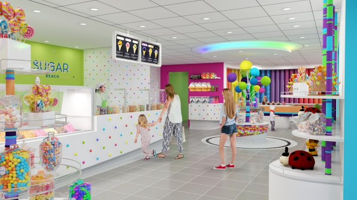 The Sugar Beach candy and ice-cream store on the Boardwalk on Symphony of the Seas will bring a sugar high of sweet treats to adults and kids alike lured in with the colorful candy-packed walls and tempting ice cream and toppings galore.