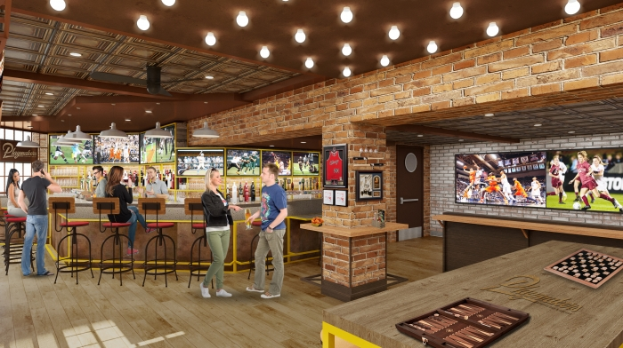 "Playmakers Sports Bar & Arcade onboard Symphony of the Seas offers a new high-energy spot to watch the ""big game."" Spanning the length of the Boardwalk, the vibrant sports bar and arcade will be the hot spot for families to enjoy wings, burgers and draft craft beer, as well as friendly arcade competitions."