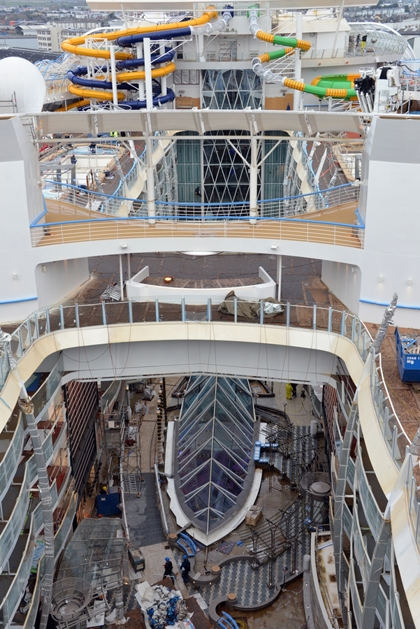 February 2018 - Symphony of the Seas, Royal Caribbean's newest Oasis-class ship, under construction at the STX shipyard in France. The ship is scheduled to be delivered in March 2018.