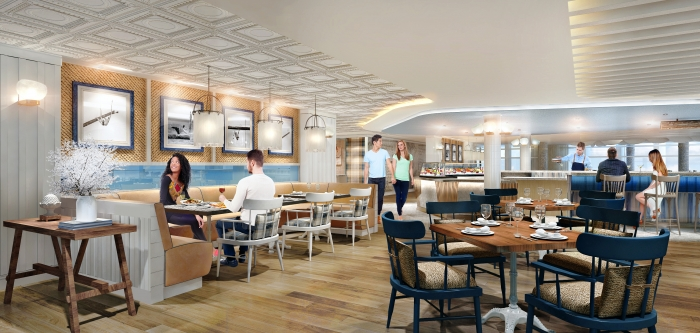 Hooked Seafood will be Royal Caribbean's first New England-style seafood restaurant, and will feature fresh seafood and a robust raw bar complete with oysters shucked to order. Located at the front of the ship in the Solarium, the casually sophisticated restaurant will offer expansive views of the open water, serving lunch and dinner.