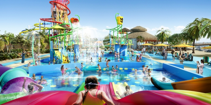 Royal Caribbean's largest Splashaway Bay, gives kids even more buckets of fun with added water play areas like fountains, pools, sprinklers, geysers, water cannons and whirlpools – plus five waterslides and two massive drench buckets.