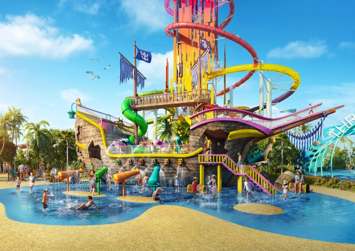 On Perfect Day at CocoCay, Bahamas the shipwrecked Galleon is where kids can jump into the adventure and get soaked by more than 30 water cannons.