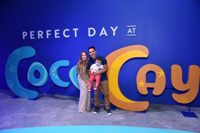 Actor and adventure seeker Carlos PenaVega (R), Alexa PenaVega (L), and Ocean PenaVega, preview Perfect Day at CocoCay, Bahamas, the first destination in Royal Caribbean's new Perfect Day Island Collection during an event at Seaport District NYC on Wednesday, March 14, 2018 in New York. (Photo by Charles Sykes/Invision for Royal Caribbean/AP Images)