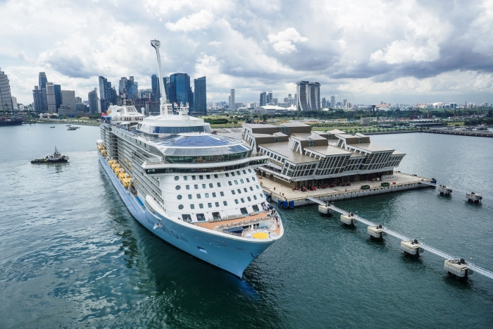 Quantum of the Seas at Marina Bay Cruise Centre Singapore in 2015. The groundbreaking ship will be the first Quantum Class ship to homeport in Singapore for a six-month season in 2019-2020.