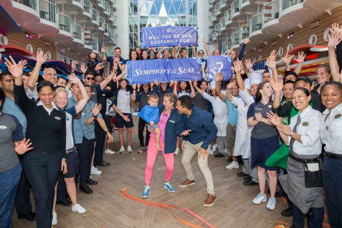 "Actors and avid Royal Caribbean fans Carlos and Alexa PenaVega, along with their 17-month-old son, Ocean, have accepted the honor to be Godfamily of the cruise line's newest ship, Symphony of the Seas. Royal Caribbean ""popped the question"" to the adventure-loving PenaVegas while the family was on board Symphony's sister ship, Harmony of the Seas, filming Hallmark Channel's ""Love at Sea"" – starring Carlos and Alexa opposite each other."
