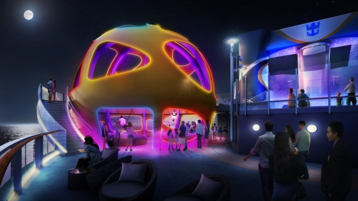 Custom built for the Chinese market, Spectrum of the Seas will feature bold and unexpected experiences, including the iconic Sky Pad, a virtual reality, bungee trampoline experience located on the aft of the ship. Guests will strap in and don their virtual reality headset to transport themselves to another time and planet.